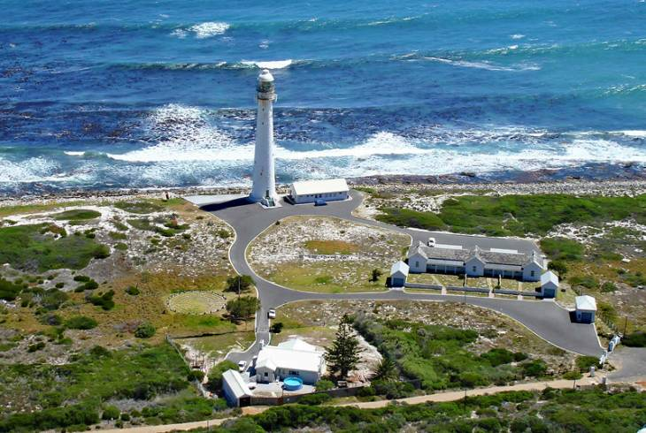 Beautiful sight of Kommetjie's Slangkop lighthouse from Cobra Camp, location of an abandoned World War II radar station.