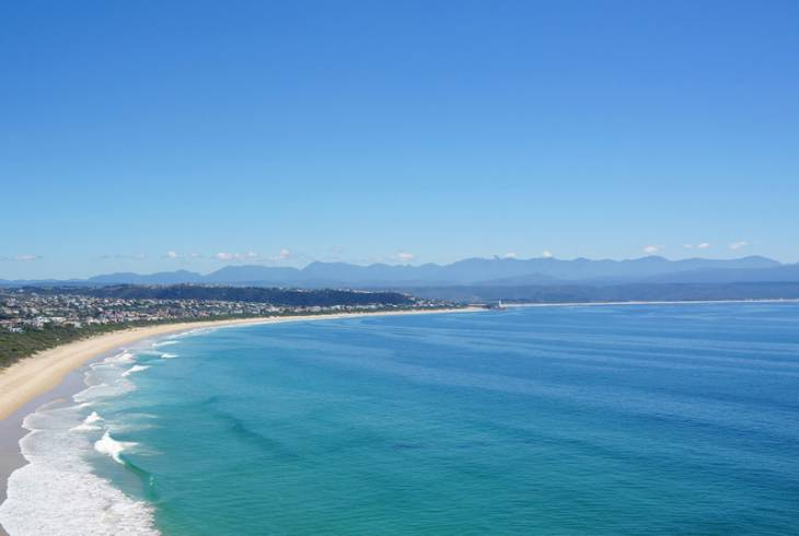 Spectacular coastline with Plettenberg Bay in the distance
