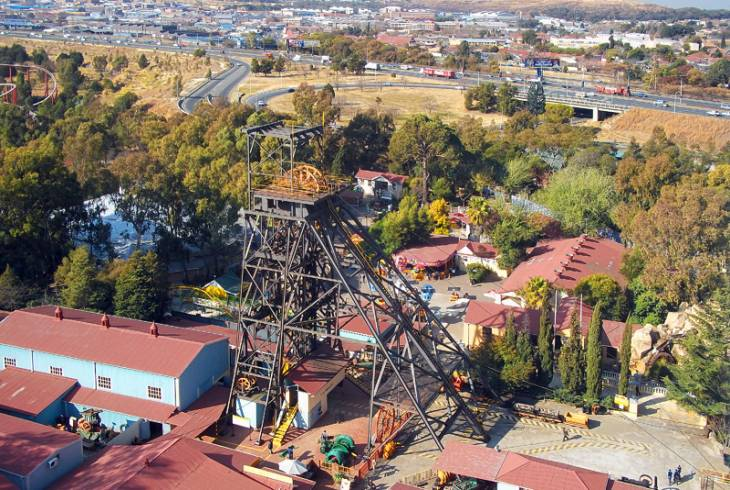 The mine headgear as seen from the Big Wheel at Gold Reef City, Johannesburg