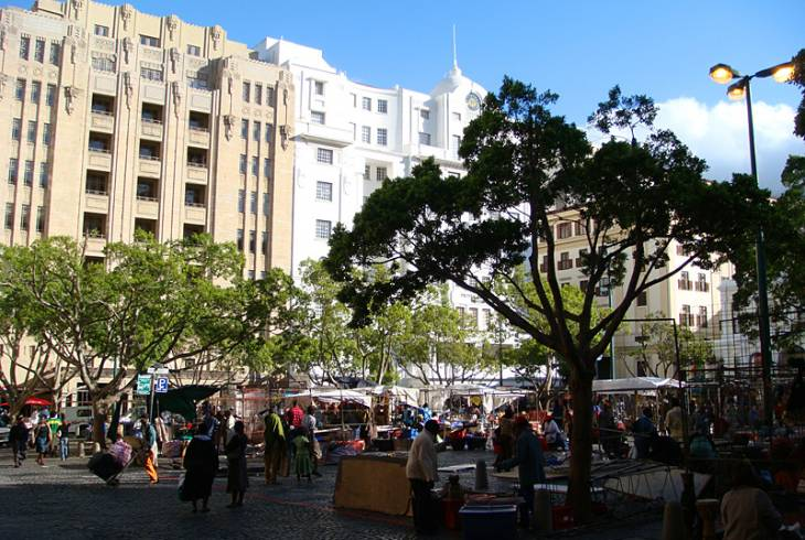 Greenmarket Square and Art Deco buildings behind