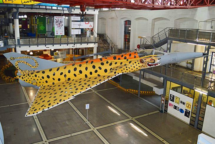 The Cheetah E was a local conversion of the Mirage IIIEZ. This colourful example is on display in the Sci-Bono Discovery Centre, Johannesburg