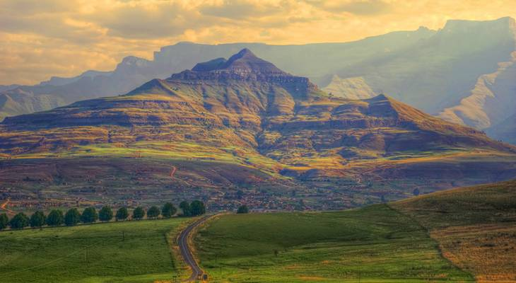 Road to Drakensberg mountains Kwazulu-Natal South Africa