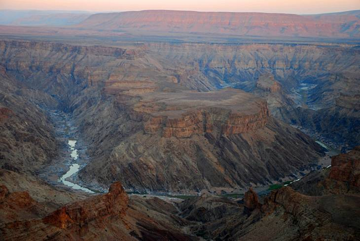 The Fish River Canyon is 160 kilometres long and 30 wide, and the sidewalls are some 550 metres high