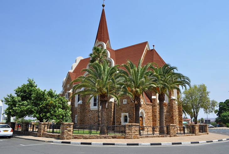 Christ Church in the centre of Windhoek. A memorial to Germans killed in the 1904-08 war with the Ovaherero and Nama peoples of Namibia