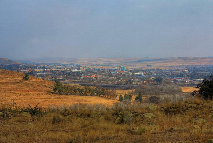 Looking down on the town of Harrismith