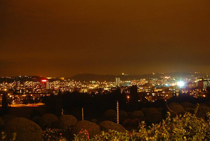 Pretoria at night, looking south across the city towards the Voortrekker Monument on the horizon