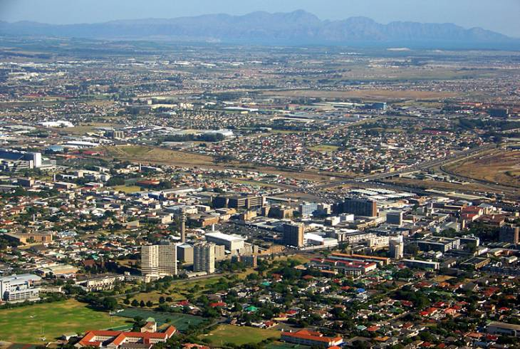 Bellville CBD, with Kogelberg Mountains and False Bay in the background