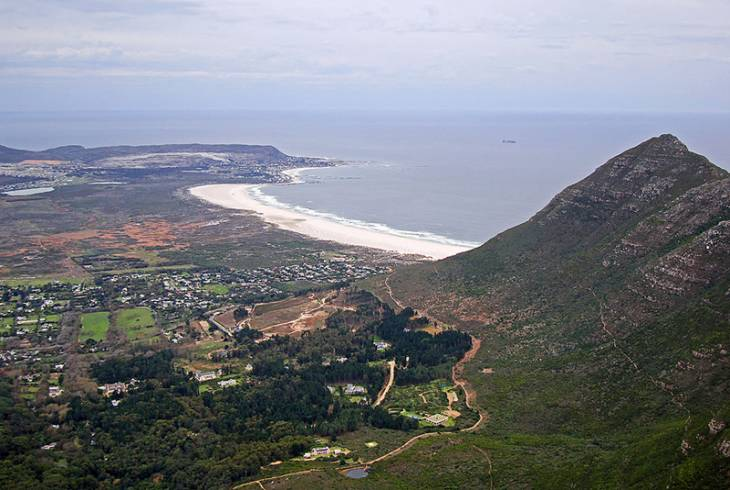 Looking down on Long Beach in Noordhoek from the Silvermine Mountain Bike Trail in Table Mountain National Park