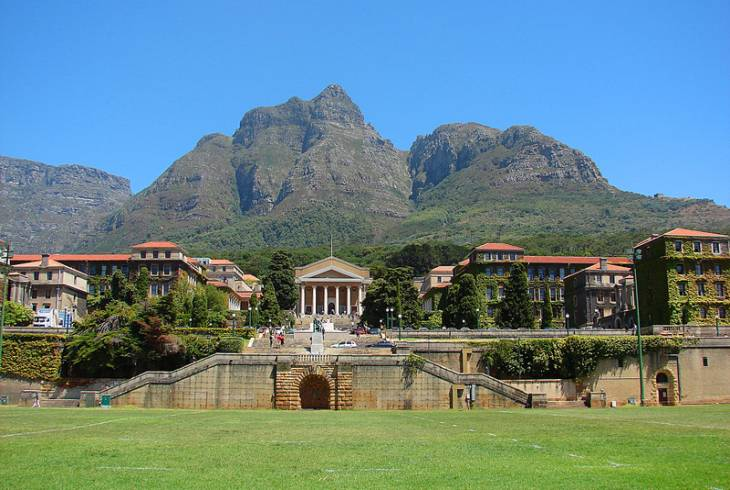 View of the upper campus from the rugby field. University of Cape Town, Rondebosch, South Africa