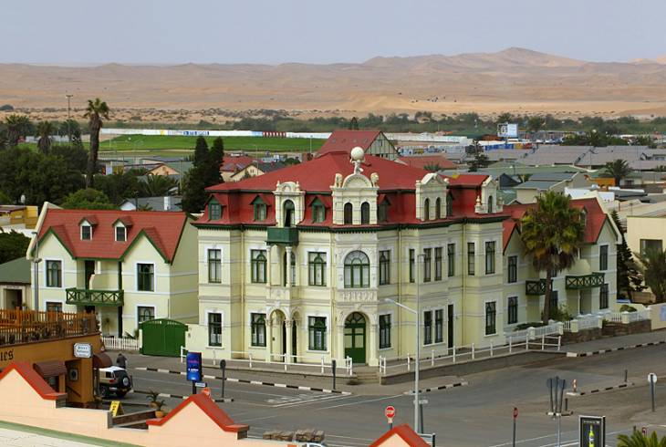 Hohenzollern Building in Swakopmund. A wonderful shot of Traditional Bavarian architecture and the close proximity of the desert