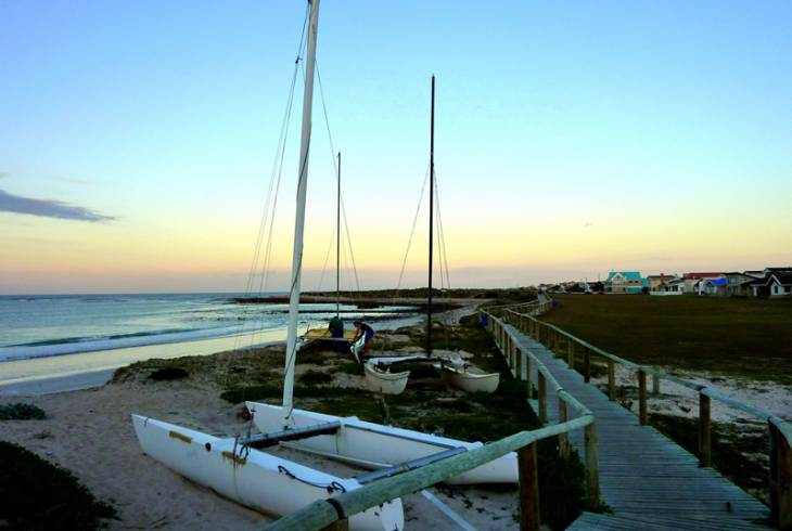 Hobie Cats and beach boardwalk at Indian Ocean Struisbaai