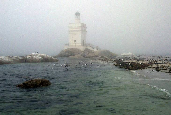 Mist rolls in around the lighthouse at Shelley Point