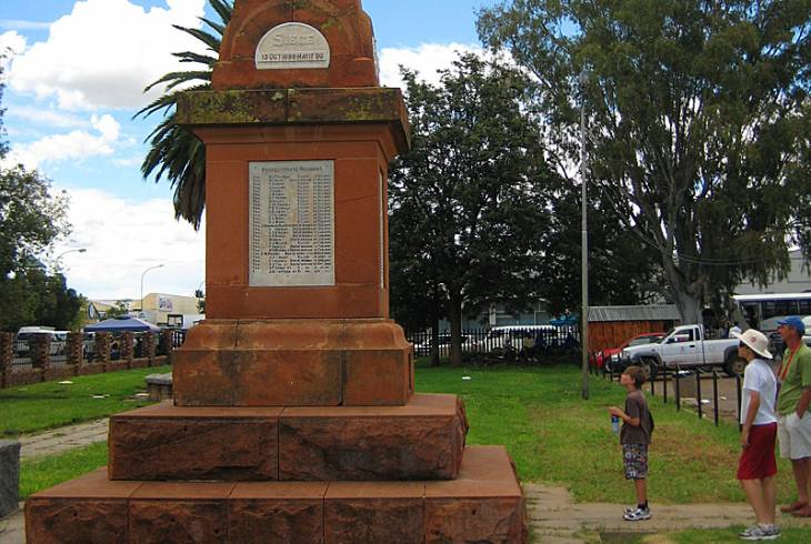 Obelisk commemorating British soldiers who died during the Siege of Mafeking. Located at Mafeking (now Mafikeng) Museum, 6 Martin Street, Mafikeng