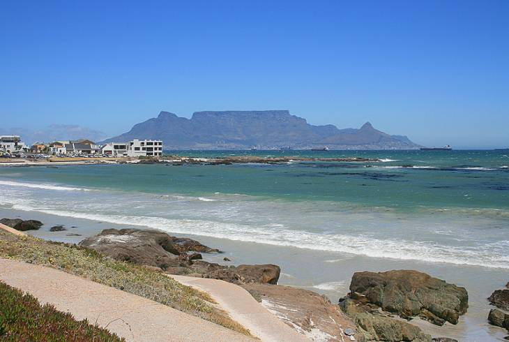 View of Table Mountain, Cape Town, from Big Bay