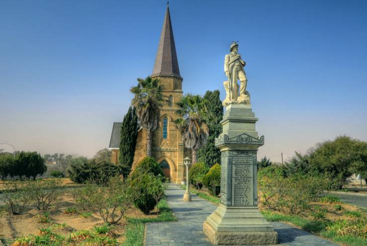 NG Kerk in Heilbron. In its grounds is a monument to the Heilbron burgers killed in the Anglo-Boer war